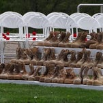 Twenty-two pairs of boots, calling attention to the suicide rate among veterans, were on display during a recent Memorial Day ceremony.