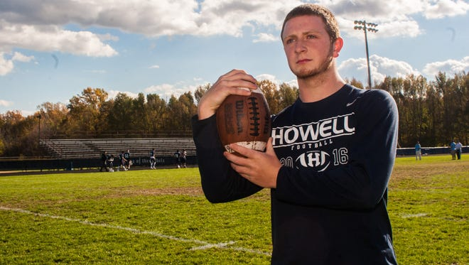 Howell High School senior Eddie Roszkowski, earns Def. Game Ball of the Week, Monday, October 24, 2016, in Howell, New Jersey. (Contributor: EvaJo Alvarez)