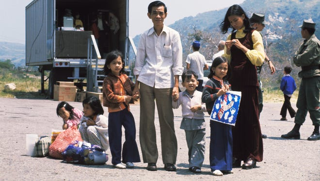 A Vietnamese refugee family is shown at Camp Pendleton, Calif.,  in this 1975 photo.
