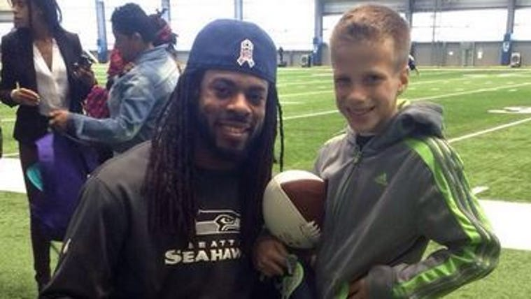 Richard Sherman meets Nate Semmler at the VMAC in Renton,