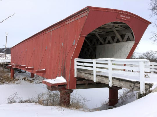 The Hogback Covered Bridge in rural Winterset, Madison County, is shown Monday, Feb. 12, 2018.