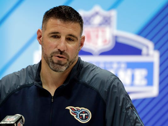 Tennessee Titans head coach Mike Vrabel speaks during a press conference at the NFL football scouting combine, Wednesday, Feb. 28, 2018, in Indianapolis. (AP Photo/Darron Cummings)