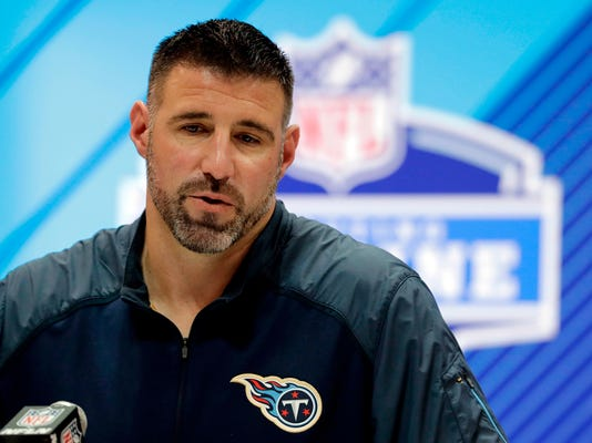 FILE - In this Feb. 28, 2018, file photo, Tennessee Titans head coach Mike Vrabel speaks during a press conference at the NFL football scouting combine in Indianapolis. Vrabel is finally getting to work with players as the Titans' new coach. (AP Photo/Darron Cummings, File)