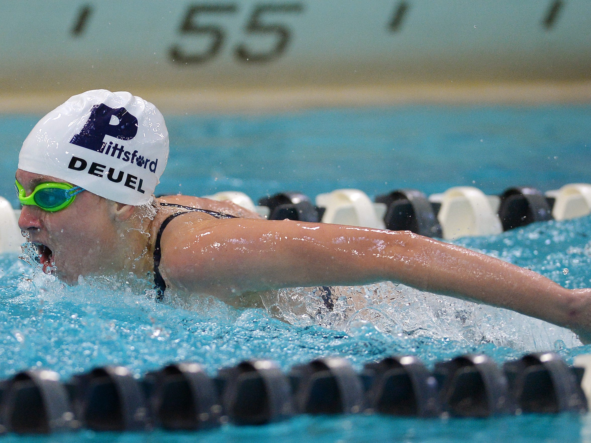 Pittsford's Megan Deuel swims the 100 yard butterfly during regular season meet at Pittsford Mendon High School on Tuesday, Sept. 27, 2016.