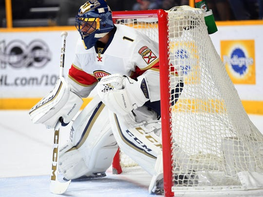 Panthers goalie Roberto Luongo is 6-foot-3, 220 pounds. Where are shooters supposed to shoot?