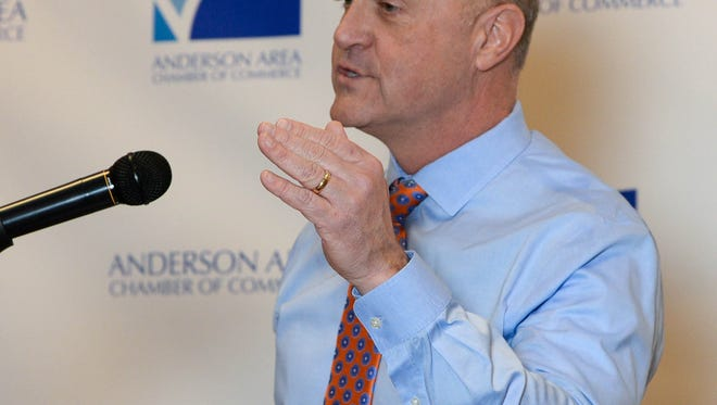 Clemson University President Jim Clements speaks during the 2018 Anderson Area Chamber of Commerce meeting at the Hilton Garden Inn of Anderson on Tuesday.