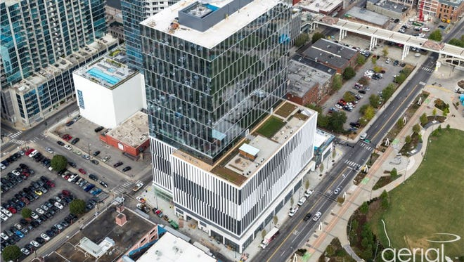 An aerial view of the 222 building in the area south of Broadway.
