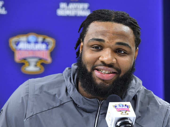 Clemson defensive lineman Christian Wilkins is interviewed