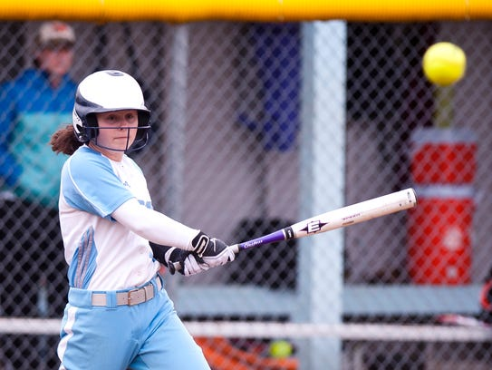 South Burlington's Anna Borrazzo connects with a pitch during the 2017 high school softball season.