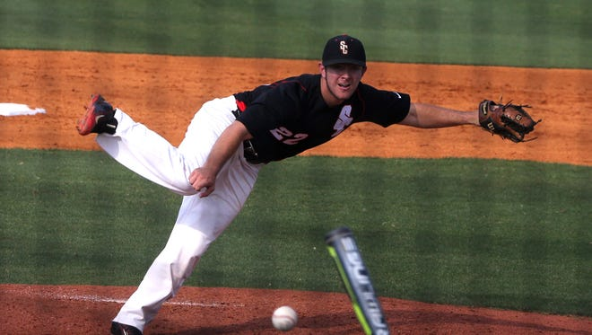 Stewarts Creek's Austin Steel throws a pitch during the District 7-AAA losers bracket final.
