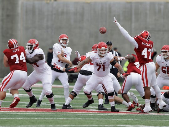 Rutgers quarterback Giovanni Rescigno throws during the first half of an NCAA college football game against Indiana, Saturday, Nov. 18, 2017, in Bloomington, Ind. (AP Photo/Darron Cummings)