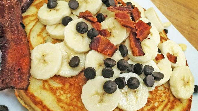 The Elvis pancake is topped with bananas, bacon and chocolate chips and will be available Sept. 1-5 during BaconFest at Atwood's Bakery.