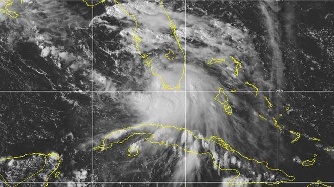 This image provided by NOAA shows the formation of Tropical Storm Sally. Tropical Storm Sally has formed off south Florida, becoming the earliest 18th-named tropical storm on record in a busy Atlantic hurricane season.