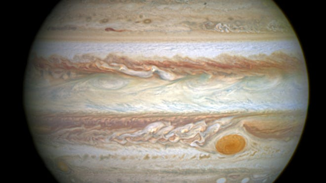 This full-disc image of Jupiter was taken on April 21 with Hubble's Wide Field Camera 3 (WFC3).