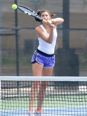 Wylie's Kaitlyn Hathorn hits a backhand during the