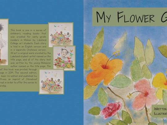 """The cover and back of """"My Flower Garden,"""" written by Alice Mvula and illustratred by Hiroe Terasawa."""
