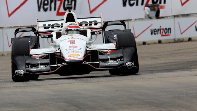IndyCar driver, Will Power, with Verizon Team Penske, goes through turn two during the first practice at the 2015 Chevrolet Detroit Belle Isle Grand Prix on Friday, May 29, 2015.