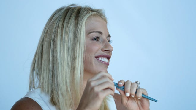 Kelly Stafford, wife of Lions quarterback Matthew Stafford, was a guest judge during Lions cheerleader tryouts June 25, 2016.