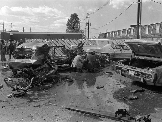 The aftermath of the car bomb that killed Ray Ryan