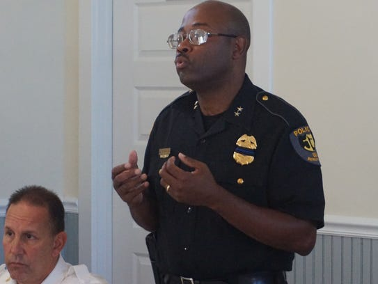 Berlin police chief Arnold Downing at a July 21 NAACP