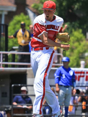 Kade McClure reacts after getting out of the fourth inning without Kentucky scoring. McClure got the win after he had 75 pitches in six innings with six strikeouts. Cards won 5-2 in the first game of the Super Regional.