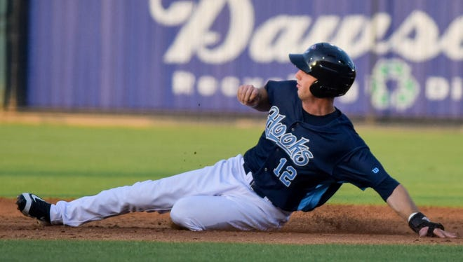 Hooks outfielder Kyle Tucker slides into a base against the Frisco RoughRiders at Whataburger Field on Wednesday, June 7, 2017.