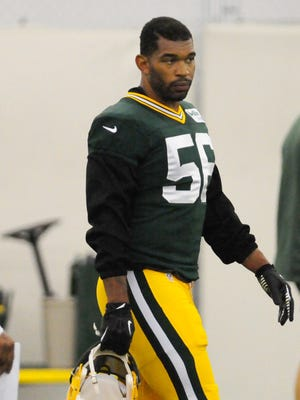 Green Bay Packers linebacker/defensive end Julius Peppers during training camp practice in the Don Hutson Center.