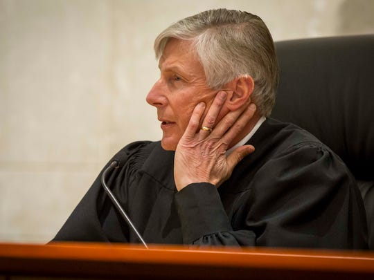 Justice Thomas Waterman hears oral arguments in a case at the Iowa Supreme Court Wednesday, Feb. 14, 2018.