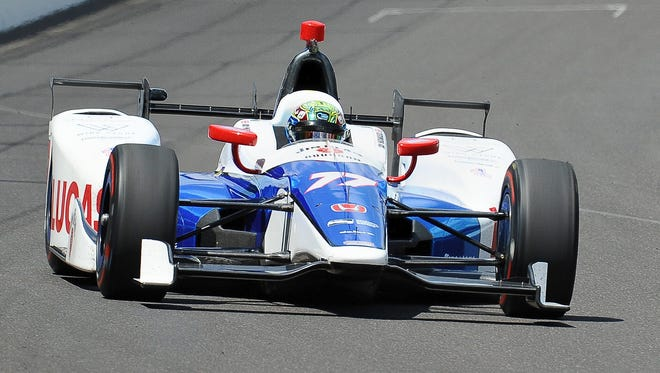 Jay Howard sets the early pace with the top practice speed of 226. 7 MPH at the Indianapolis Speedway on May 18, 2017