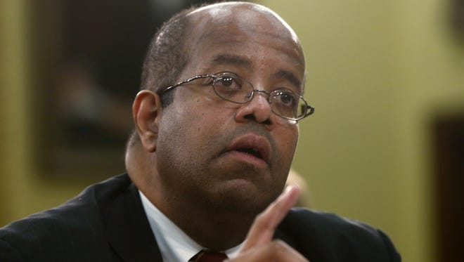 File photo taken in 2013 shows J. Russell George,  Treasury Inspector General for Tax Administration, testifying at a congressional hearing in Washington, D.C.