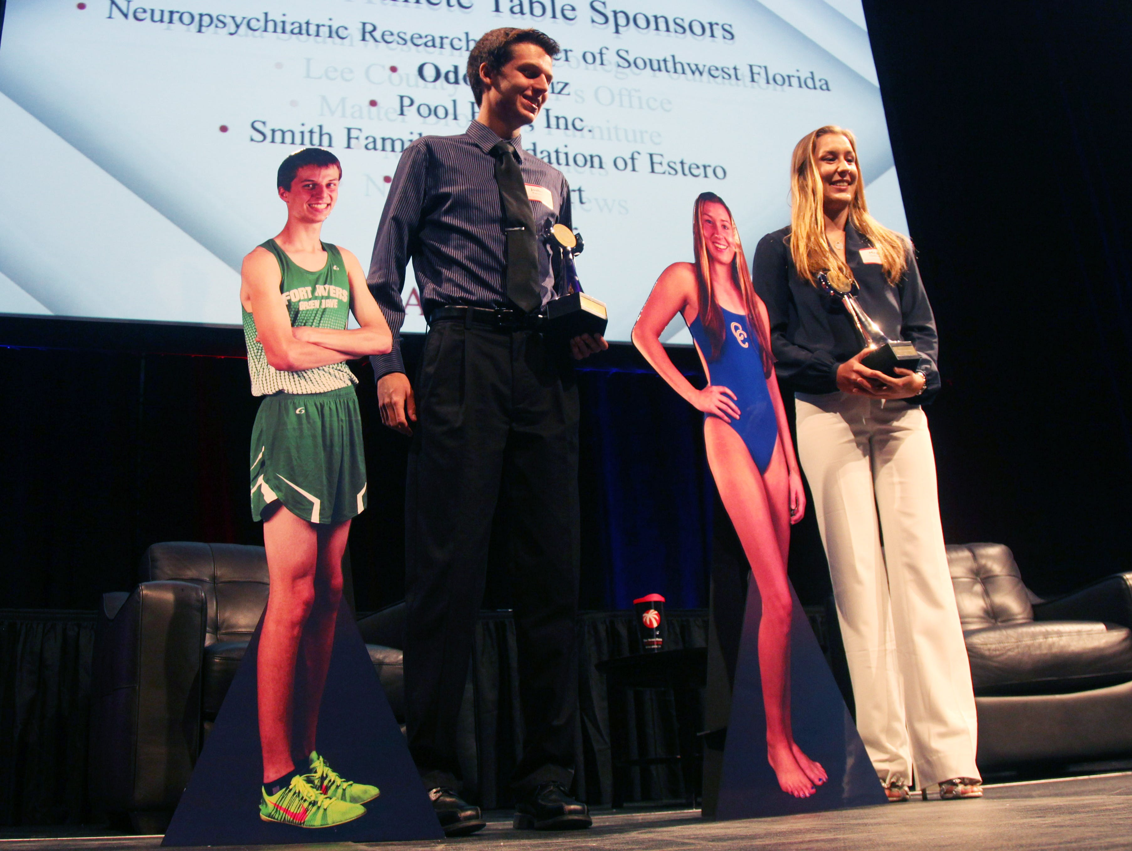 Josh Kennedy, of Fort Myers High School, and Megan Galbreath, of Cape Coral High School, are named male and female Athlete of the Year during the News-Press All-Area Stars Awards Banquet at Germain Arena on Tuesday night.