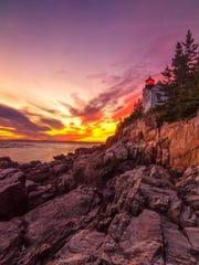 October Sunset Over Bass Harbor Light 2.png