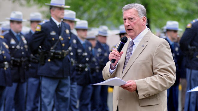 """Dutchess County Sheriff Adrian """"Butch"""" Anderson makes his opening remarks during the annual memorial service on the front lawn at department headquarters in Poughkeepsie."""