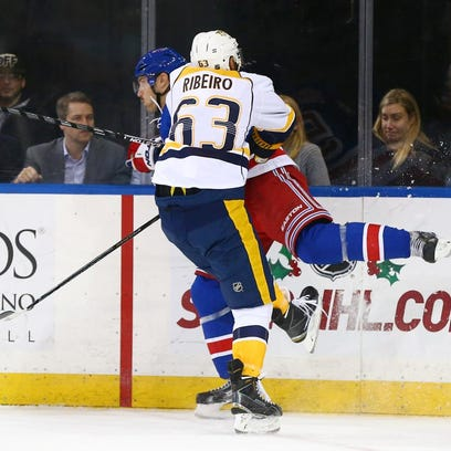 Predators center Mike Ribeiro (63) leads the NHL with three misconduct penalties.