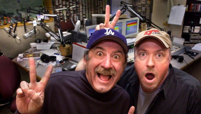 """Bob Kevoian, left, and Tom Griswold launched """"The Bob & Tom Show"""" at WFBQ-FM (94.7) in 1983."""