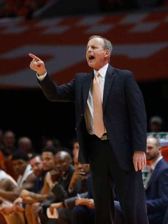 Tennessee head coach Rick Barnes yells to his player in the first half of an NCAA college basketball game against Texas A&M on Saturday, Jan. 13, 2018, in Knoxville, Tenn. (AP Photo/Crystal LoGiudice)
