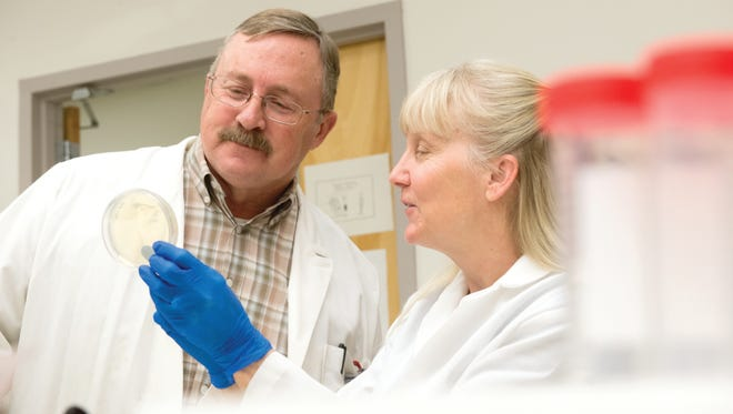 Russ Anthony, Professor of Biomedical Sciences, consults with Kimberly Jeckel, Research Scholar, in his lab at the Animal Reproduction and Biotechnology Laboratory at Colorado State University. February 9, 2015