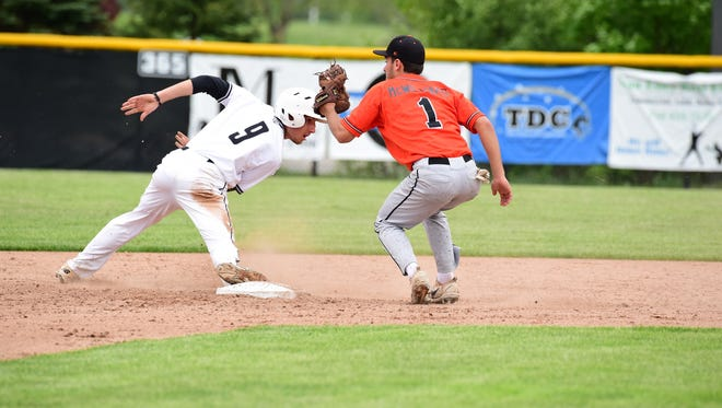 Plymouth's Kyle Aniol (9) gets back to second after driving in two runs with a double in the third inning. At right for Northville is Jake McWilliams (1).