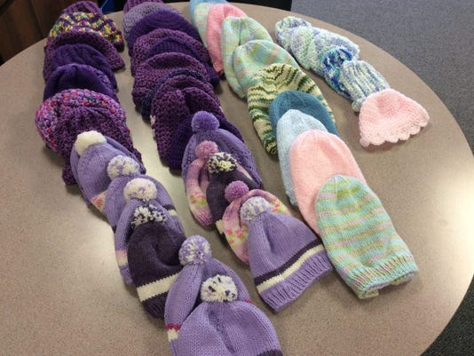 Here are the hats I collected at the Bridgewater Library on Thursday night