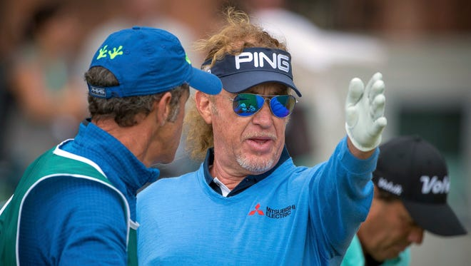 Miguel Angel Jimenez waits to play on the third day of the Senior Open on Saturday at St. Andrews, Scotland.