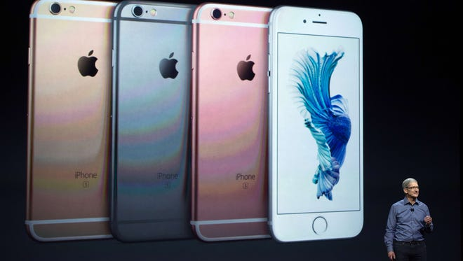Apple CEO Tim Cook introduces the iPhone 6S during an Apple media event in San Francisco in September 2015.