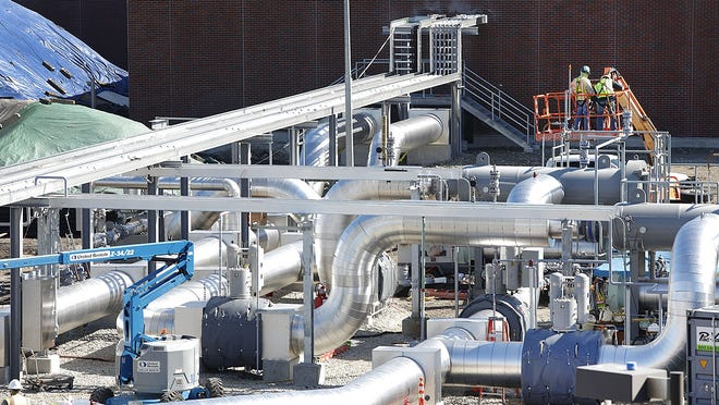 The gas compressor station in North Weymouth at the Fore River basin on Thursday October 1, 2020  Greg Derr/ The Patriot Ledger