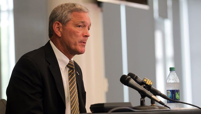 Iowa head coach Kirk Ferentz speaks about the Hawkeyes' upcoming season during media day on Saturday, Aug. 8, 2015.   David Scrivner / Iowa City Press-Citizen