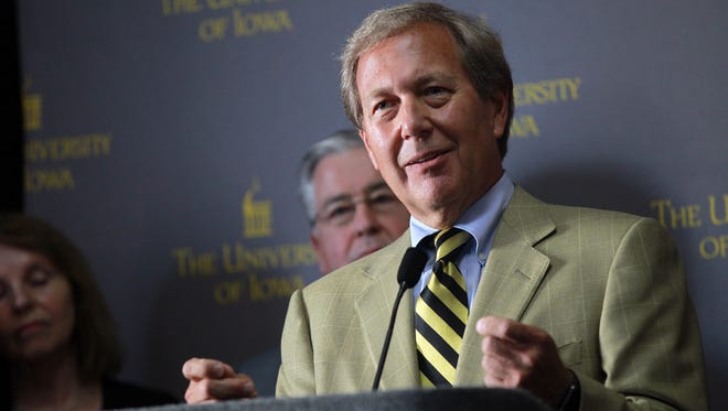 Newly appointed University of Iowa President J. Bruce Harreld speaks to media at the Iowa Memorial Union on Thursday, Sept. 3, 2015.