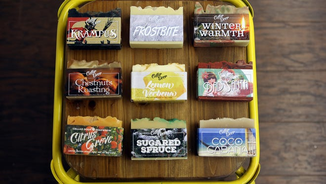 These are  handmade small batch vegan and cruelty-free soap made by Brandon Mitchell, 37, of Plymouth Township. He has turned this into his full-time gig. His product sells in a variety of boutique stores in Michigan, Kentucky, Pennsylvania and online. Along with being stocked in stores he sells his soaps in the Detroit Metro area at various craft fairs focused on local handmade goods.  Photographed at one of the boutiques his soap is stocked in called Poesy at 32184 Woodward Ave. in Royal Oak Tuesday, Nov. 10, 2015.