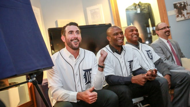 Detroit Tigers Justin Verlander, Justin Upton, Dave Clark and Mario Impemba attend a ceremony at the Tuskegee Airmen museum on Fort Wayne in Detroit on one of their stops during the winter caravan on Thursday, Jan. 21, 2016.