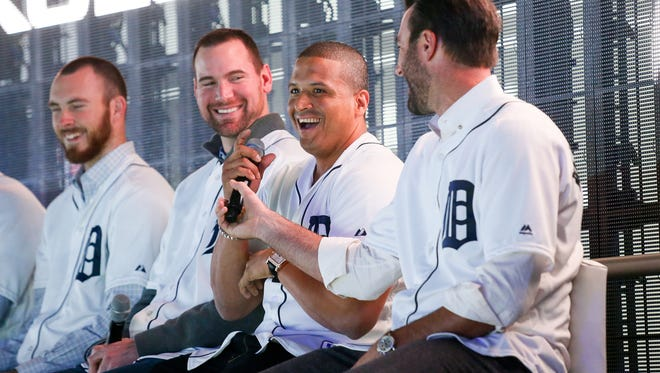 Detroit Tigers' Victor Maritnez answers questions from the audience during the team's winter caravan at the North American International Auto Show on Friday, Jan. 22, 2016.