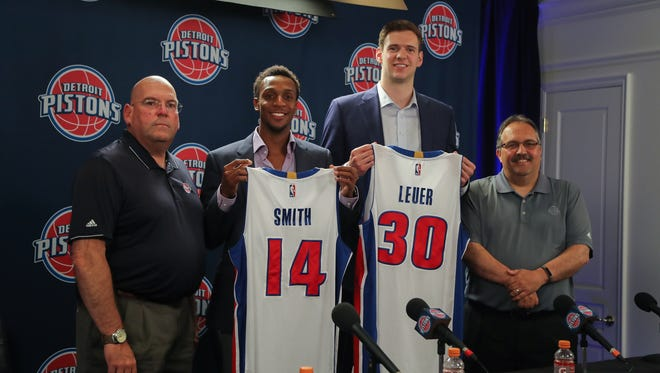 Detroit Pistons general manager Jeff Bower, point guard Ish Smith, forward Jon Leuer and head coach Stan Van Gundy after their press conference Friday, July 8, 2016 at The Palace of Auburn Hills.