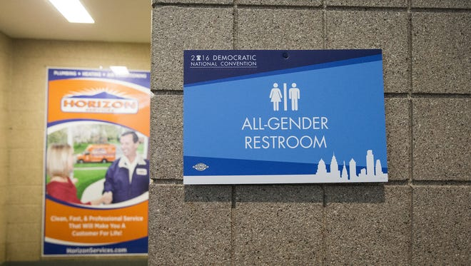 A transgender bathroom at the Democratic National Convention in Philadelphia on July 26, 2016.