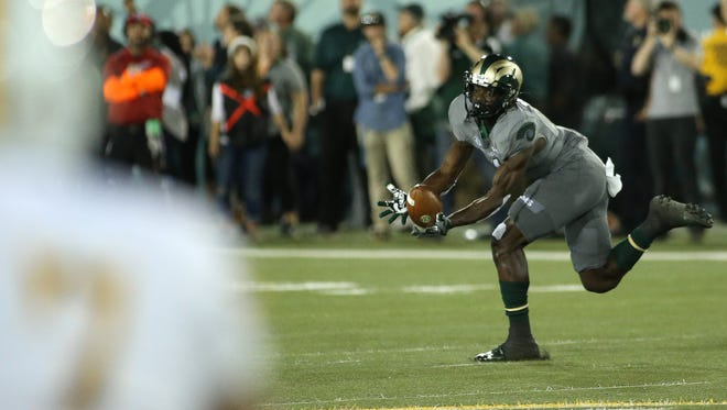 CSU wide receiver Michael Gallup makes a catch during the Rams' 38-17 loss to the Wyoming on Oct. 1, 2016 at Hughes Stadium in Fort Collins.